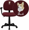Embroidered Low Back Ergonomic Burgundy Fabric Swivel Task Chair with Height Adjustable Arms [BT-660-1-BY-EMB-GG]