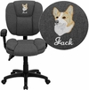 Embroidered Mid-Back Gray Fabric Multi-Functional Ergonomic Swivel Task Chair with Height Adjustable Arms [GO-930F-GY-ARMS-EMB-GG]