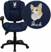 Embroidered Mid-Back Navy Blue Fabric Multi-Functional Ergonomic Swivel Task Chair with Height Adjustable Arms [GO-930F-NVY-ARMS-EMB-GG]