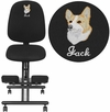 Embroidered Mobile Ergonomic Kneeling Posture Chair in Black Fabric with Back [WL-1428-EMB-GG]