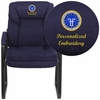Embroidered Navy Microfiber Executive Side Reception Chair with Sled Base [GO-1156-NVY-EMB-GG]