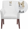 Embroidered White Leather Executive Side Reception Chair with Mahogany Legs [BT-353-WH-EMB-GG]