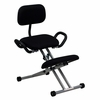 Ergonomic Kneeling Chair with Back and Handles in Black Fabric [WL-3439-GG]