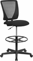 Ergonomic Mid-Back Mesh Drafting Chair with Black Fabric Seat and Adjustable Foot Ring [GO-2100-GG]