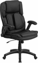 Extreme Comfort High Back Black Leather Executive Swivel Office Chair with Flip-Up Arms [BT-90275H-GG]