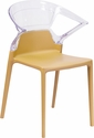 Fascination Series Plastic Stacking Side Chair with Gold Seat and Transparent Back [FH-103-APC-GOLD-GG]