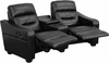 Futura Series 2-Seat Reclining Black Leather Theater Seating Unit with Cup Holders [BT-70380-2-BK-GG]
