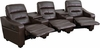 Futura Series 3-Seat Reclining Brown Leather Theater Seating Unit with Cup Holders [BT-70380-3-BRN-GG]