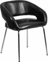 Fusion Series Contemporary Black Leather Side-Reception-Lounge Chair [CH-162731-BK-GG]