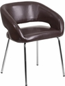 Fusion Series Contemporary Brown Leather Side-Reception-Lounge Chair [CH-162731-BN-GG]