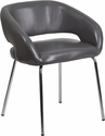 Fusion Series Contemporary Gray Leather Side-Reception-Lounge Chair [CH-162731-GY-GG]