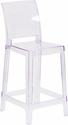 Ghost Counter Stool with Square Back in Transparent Crystal [OW-SQUAREBACK-24-GG]