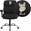 Embroidered HERCULES Series 400 lb. Capacity Big & Tall Black Fabric Swivel Task Chair with Height Adjustable Arms [GO-2031F-EMB-GG]