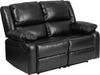 Harmony Series Black Leather Loveseat with Two Built-In Recliners [BT-70597-LS-GG]