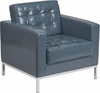 HERCULES Lacey Series Contemporary Gray Leather Chair with Stainless Steel Frame [ZB-LACEY-831-2-CHAIR-GY-GG]