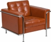HERCULES Lesley Series Contemporary Cognac Leather Chair with Encasing Frame [ZB-LESLEY-8090-CHAIR-COG-GG]