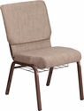HERCULES Series 18.5''W Beige Fabric Church Chair with 4.25'' Thick Seat, Book Rack - Copper Vein Frame [FD-CH02185-CV-BGE1-BAS-GG]