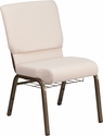 HERCULES Series 18.5''W Beige Fabric Church Chair with 4.25'' Thick Seat, Cup Book Rack - Gold Vein Frame [FD-CH02185-GV-B2-BAS-GG]