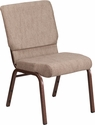HERCULES Series 18.5''W Stacking Church Chair in Beige Fabric - Copper Vein Frame [FD-CH02185-CV-BGE1-GG]