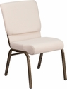 HERCULES Series 18.5''W Beige Fabric Stacking Church Chair with 4.25'' Thick Seat - Gold Vein Frame [FD-CH02185-GV-B2-GG]