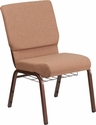 HERCULES Series 18.5''W Caramel Fabric Church Chair with 4.25'' Thick Seat, Cup Book Rack - Copper Vein Frame [FD-CH02185-CV-BN-BAS-GG]