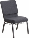HERCULES Series 18.5''W Dark Gray Fabric Church Chair with 4.25'' Thick Seat, Book Rack - Silver Vein Frame [FD-CH02185-SV-DKGY-BAS-GG]
