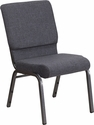 HERCULES Series 18.5''W Dark Gray Fabric Stacking Church Chair with 4.25'' Thick Seat - Silver Vein Frame [FD-CH02185-SV-DKGY-GG]