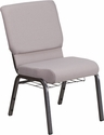 HERCULES Series 18.5''W Church Chair in Gray Dot Fabric with Book Rack - Silver Vein Frame [FD-CH02185-SV-GYDOT-BAS-GG]