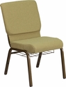 HERCULES Series 18.5''W Moss Green Fabric Church Chair with 4.25'' Thick Seat,Cup Book Rack - Gold Vein Frame [FD-CH02185-GV-GN-BAS-GG]