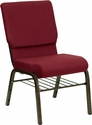 HERCULES Series 18.5''W Church Chair in Burgundy Fabric with Book Rack - Gold Vein Frame [XU-CH-60096-BY-BAS-GG]