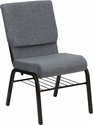 HERCULES Series 18.5''W Gray Fabric Church Chair with 4.25'' Thick Seat, Book Rack - Gold Vein Frame [XU-CH-60096-BEIJING-GY-BAS-GG]