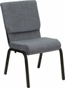 HERCULES Series 18.5''W Gray Fabric Stacking Church Chair with 4.25'' Thick Seat - Gold Vein Frame [XU-CH-60096-BEIJING-GY-GG]