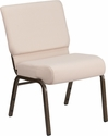 HERCULES Series 21''W Stacking Church Chair in Beige Fabric - Gold Vein Frame [FD-CH0221-4-GV-B2-GG]