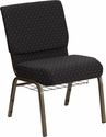 HERCULES Series 21'' Extra Wide Black Dot Patterned Fabric Church Chair with 4'' Thick Seat, Communion Cup Book Rack - Gold Vein Frame [FD-CH0221-4-GV-S0806-BAS-GG]