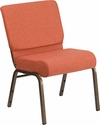 HERCULES Series 21'' Extra Wide Cinnamon Fabric Stacking Church Chair with 4'' Thick Seat - Gold Vein Frame [FD-CH0221-4-GV-CIN-GG]