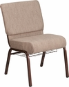 HERCULES Series 21''W Church Chair in Beige Fabric with Book Rack - Copper Vein Frame [FD-CH0221-4-CV-BGE1-BAS-GG]