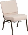 HERCULES Series 21'' Wide Beige Fabric Church Chair with 4'' Thick Seat, Cup Book Rack - Gold Vein Frame [FD-CH0221-4-GV-B2-BAS-GG]