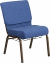 HERCULES Series 21'' Wide Blue Fabric Church Chair with 4'' Thick Seat, Cup Book Rack - Gold Vein Frame [FD-CH0221-4-GV-BLUE-BAS-GG]