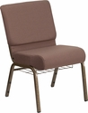 HERCULES Series 21''W Church Chair in Brown Dot Fabric with Book Rack - Gold Vein Frame [FD-CH0221-4-GV-BNDOT-BAS-GG]