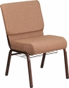 HERCULES Series 21'' Wide Caramel Fabric Church Chair with 4'' Thick Seat, Cup Book Rack - Copper Vein Frame [FD-CH0221-4-CV-BN-BAS-GG]