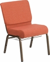 HERCULES Series 21''W Church Chair in Cinnamon Fabric with Book Rack - Gold Vein Frame [FD-CH0221-4-GV-CIN-BAS-GG]