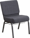 HERCULES Series 21''W Church Chair in Dark Gray Fabric with Book Rack - Silver Vein Frame [FD-CH0221-4-SV-DKGY-BAS-GG]