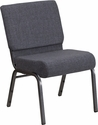 HERCULES Series 21'' Wide Dark Gray Fabric Stacking Church Chair with 4'' Thick Seat - Silver Vein Frame [FD-CH0221-4-SV-DKGY-GG]