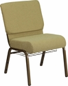 HERCULES Series 21'' Wide Moss Green Fabric Church Chair with 4'' Thick Seat,Cup Book Rack - Gold Vein Frame [FD-CH0221-4-GV-GN-BAS-GG]