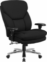 HERCULES Series 24/7 Intensive Use, Multi-Shift, Big & Tall 400 lb. Capacity Black Fabric Executive Swivel Chair with Lumbar Support Knob [GO-2085-GG]
