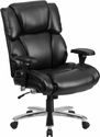 HERCULES Series 24/7 Intensive Use, Multi-Shift, Big & Tall 400 lb. Capacity Black Leather Executive Swivel Chair with Lumbar Support Knob [GO-2149-LEA-GG]