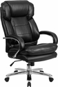 HERCULES Series 24/7 Intensive Use, Multi-Shift, Big & Tall 500 lb. Capacity Black Leather Executive Swivel Chair with Loop Arms [GO-2078-LEA-GG]