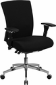HERCULES Series 24/7 Multi-Shift, 300 lb. Capacity Black Fabric Multi-Functional Executive Swivel Chair with Seat Slider [GO-WY-85-6-GG]