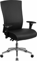 HERCULES Series 24/7 Multi-Shift, 300 lb. Capacity High Back Black Leather Multi-Functional Executive Swivel Chair with Seat Slider [GO-WY-85H-1-GG]