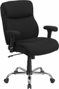 HERCULES Series 400 lb. Capacity Big & Tall Black Fabric Swivel Task Chair with Height Adjustable Arms [GO-2031F-GG]